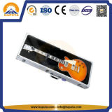 ハンドル(HT-5215)が付いている黒いアルミニウム器械の箱のギターまたはバイオリン飛行箱