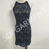 Платье шнурка Bodycon нового способа повелительниц безрукавный с застежкой -молнией (DR-97)