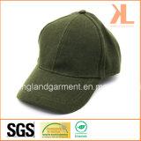Casquette de baseball verte ordinaire chaude de qualité de polyester et de laines