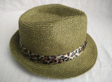 서류상 끈목 꿰매어진 끈목 표범 인쇄 악대 중절모 밀짚 모자