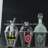 Plate-forme pétrolière en verre de Starbuck de conduite d'eau avec l'illustration d'homme d'araignée pour le fumage