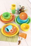 16PCS Bright Color Hand Painting Dinner Set