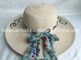 Papel de la trenza estilo de la playa Bufanda impresa Embroiery Emb Ojal Recorte Floopy sombrero de paja