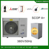 Calefator de água rachado da bomba de calor do CO2 da casa de campo 12kw/19kw/35kw do medidor do aquecimento de assoalho 100~350sq do inverno da tecnologia -25c de Evi
