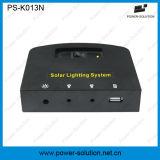 Sistema di illuminazione solare domestico portatile di CC con il caricatore del telefono mobile dei 2 indicatori luminosi