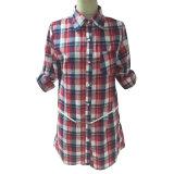 (81191-1) - 숙녀의 가죽 벨트 셔츠를 가진 우연한 긴 소매 검사 블라우스