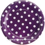 Colores calientes de la venta con las placas de papel blancas de los puntos de polca