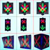 Sinal de controle veicular da pista de tráfego do diodo emissor de luz com cruz vermelha & a seta verde