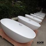 Baignoire ovale debout libre de pierre de marbre blanche de Kkr Matt