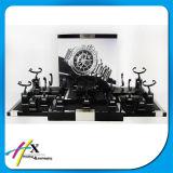 Étalage encoché en bois de luxe noir mat de montre de Logo-Coutume à extrémité élevé