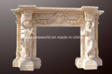 Statue Decoration를 가진 자연적인 Marble Carving Fireplace