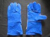 Голубая перчатка работы заварки Fullylined Split кожи коровы