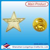 Значок звезды самомоднейшей конструкции латунный с глянцеватой плитой золота