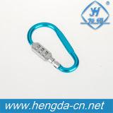 Alumínio Resettable Shaped Carabiner da combinação de 3 dígitos do gancho Yh9238 colorido mini
