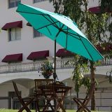 Regenschirm des Patio-9-Feet mit Druckknopf-Neigung und Kurbel - Türkis