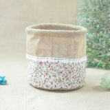 Lace를 가진 황마 Fabric Flower Pot