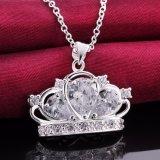 Juwelen van de Halsband van de Charme van het Staal van de Halsband van Zircon van de Tegenhanger van de Kroon van de manier de Echte Zilver Geplateerde