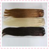 Extensões retas de seda brasileiras não processadas do cabelo do Weave de 100%