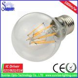 100lm / W A60 6W E27 LED filamento de la bombilla de la lámpara / luz