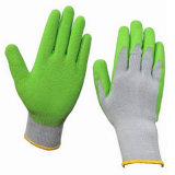 Luvas revestidas verdes baratas do trabalho da segurança do látex