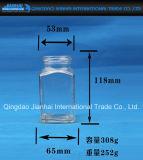 квадратный ясный стеклянный опарник 300g с крышкой винта для хранения