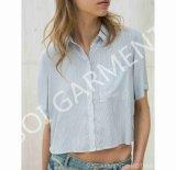 Новые женщины замыкают накоротко кофточку рубашки втулки краткости нашивки хлопка типа (SH-16)