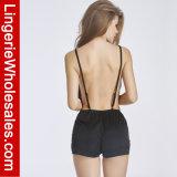 Halter-Nachtzeug-Wäsche V-Stutzen reizvolle einteilige Spitze der Frauen tiefe