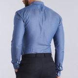 Los hombres de la camisa de alineada de los hombres más las camisas masculinas del asunto de la funda larga de la talla adelgazan a hombre apto de la oficina