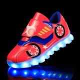 Les espadrilles lumineuses allument les chaussures de clignotement d'éclairage LED de garçons d'enfants de gosses de simulation avec la DEL