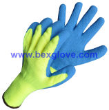 Gant de latex de polyester de 10 mesures