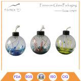 カラーガラスオイルか燈油の卓上スタンド、装飾的なランタン