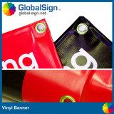 13 Unze fertigen ein die mit Seiten versehenen gedruckten Flex-Belüftung-Vinylfahnen kundenspezifisch an