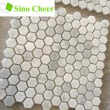 Azulejos de mosaico de mármol blancos del pequeño hexágono