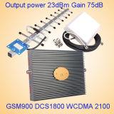 Tri repetidor de la señal del aumentador de presión de la señal de la venda para GSM900 DCS 1800 3G 2100MHz