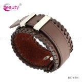 Manera Design Genuine Leather Cuff Bracelet para Men Hot Sales en Europa /American Market