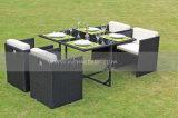 一定の屋外の藤の家具のソファー(MTC-238)を食事する庭の柳細工の立方体