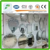 Lo specchio del bordo dell'onda/ha temperato lo specchio di sicurezza/specchio ultra chiaro di sabbiatura/specchio di alluminio della Cina/lo specchio argento libero del rame/specchio cosmetico di alluminio