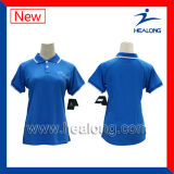 Healong Sublimated senhoras da impressão/a camisa polo Sleeveless do Mens