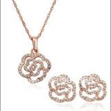 Золото способа покрыло комплект ювелирных изделий цветка стерлингового серебра 925