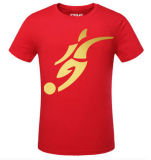 La Cina Manufacturer Gold Stamp Print Cotton T Shirt per Promotion