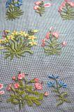 草の刺繍デザインのメッシュ生地