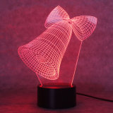 lâmpada de Bell de Natal 3D, luz da noite da ilusão ótica para o berçário/decoração/sala de visitas, presentes românticos coloridos do Natal da lâmpada da noite do diodo emissor de luz para miúdos