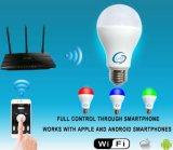 Luz da lâmpada do diodo emissor de luz WiFi do RGB E27 B22 9W