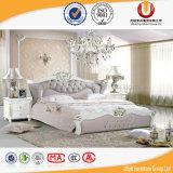 Роскошная итальянская неподдельная белая самомоднейшая кожаный кровать (UL-FT621)