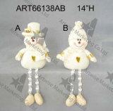 Muñeco de nieve y regalo zanquilargos de la Navidad del canguro de Santa con el bordado Design-2asst. de la mano