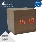 مربّع يشكّل خشبيّة طاولة ضبط ساعة ذكيّة مع درجة حرارة & صوت