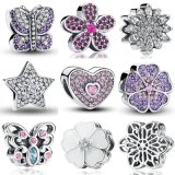 100% S925 Charms Fit Bracelet Necklace 925 Sterling Silver Sweetheart Pink CZ Bead Star Snowflake Purple Flower Butterfly Charms