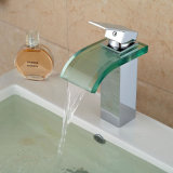 Смеситель раковины ванной комнаты Spout хромового стекла держателя палубы