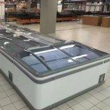 Congelador profundo horizontal de la isla del supermercado