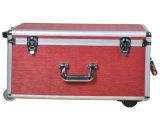 Caixa de alumínio portátil do trole da ferramenta da bagagem do OEM com rodas e Rod